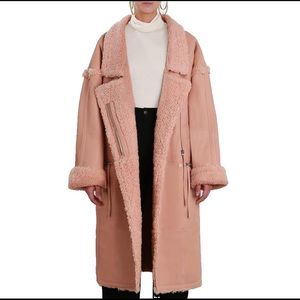 Zimmermann Maples Riot Shearling Coat in blush